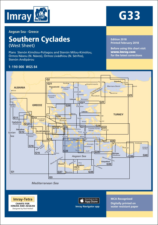 IMRAY CHART G33 Southern Cyclades (West Sheet)