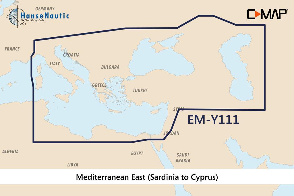 C-MAP Reveal Mittelmeer Sardinien-Zypern, (Eastern Mediterranean, Black Sea) EM-Y111