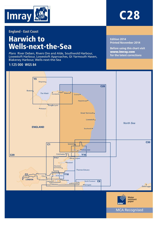 IMRAY CHART C28 Harwich to Wells-next-the-Sea
