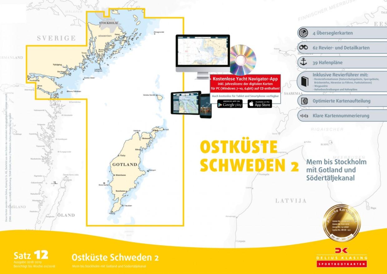 Sportbootkarten Satz 12: Ostküste Schweden 2, Delius Klasing