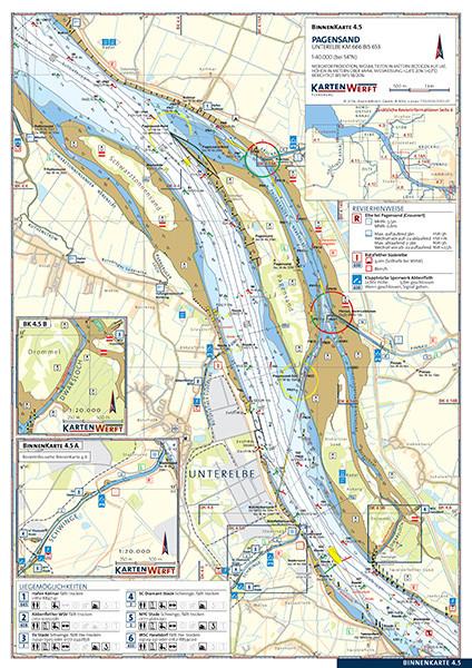 Pagensand / Stade bis Wedel - Binnenkarte