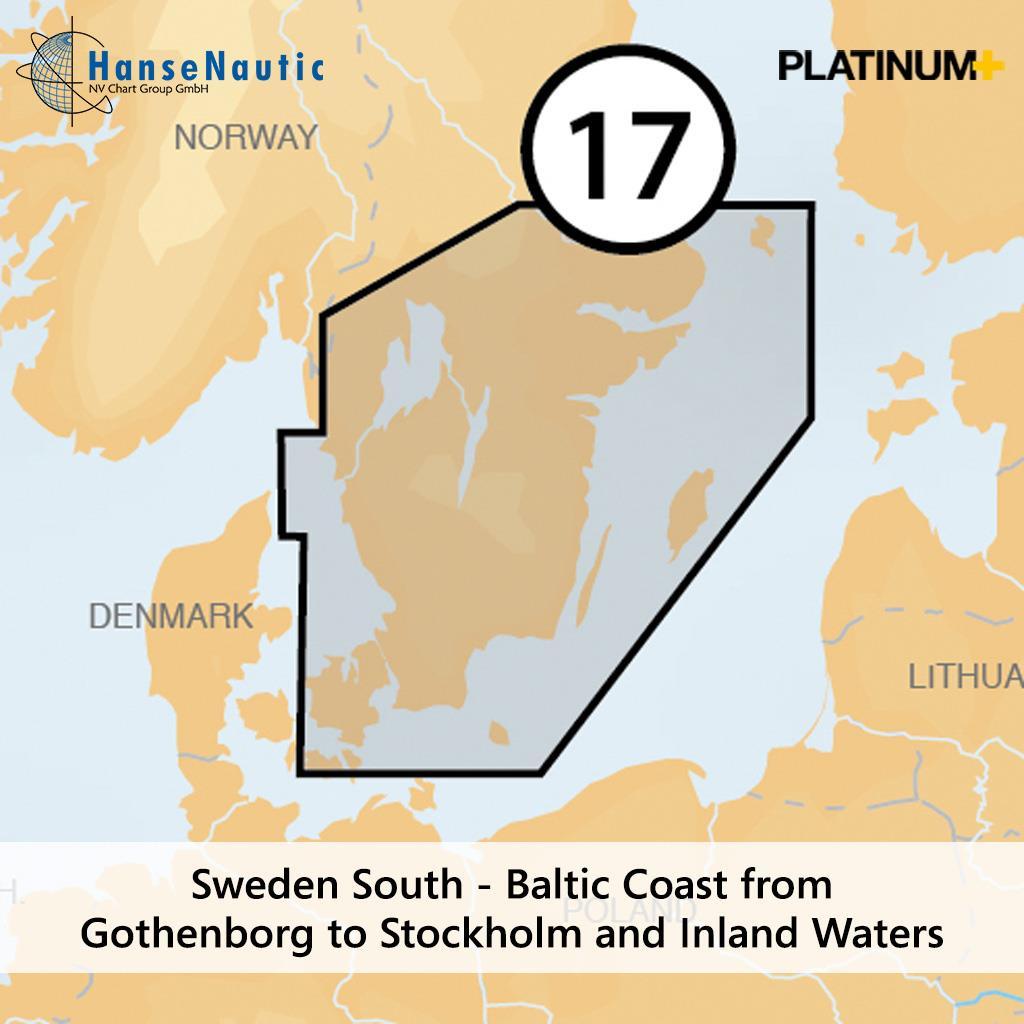 Navionics Platinum+ Schweden, Ostseeküste v. Göteborg bis Stockholm und Vänern, Vättern, Götakanal (17P+)