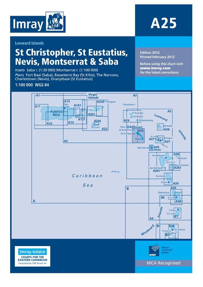 IMRAY CHART A25 St Eustatius, St Christopher, Nevis, Monserrat and Saba