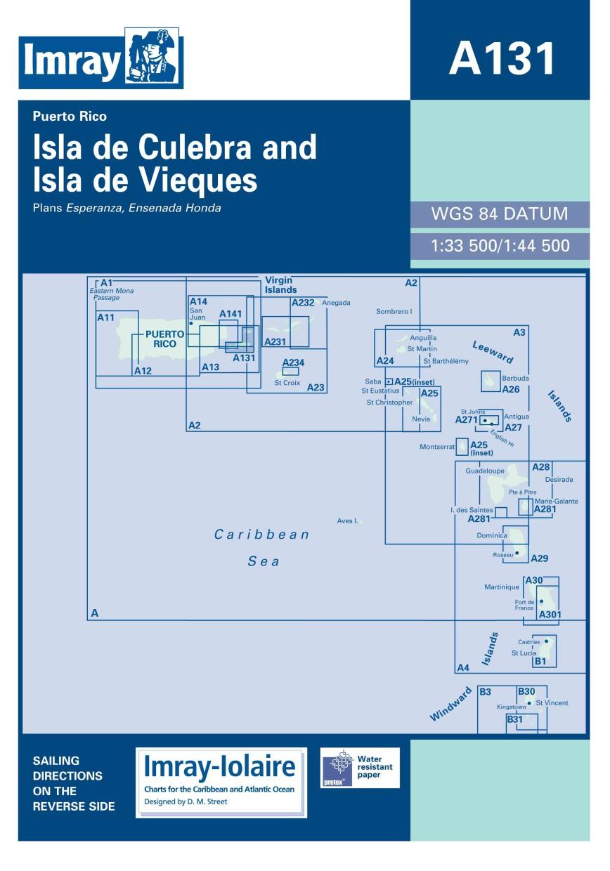 IMRAY CHART A131 Puerto Rico Isla de Culebra and Isla de Vieques