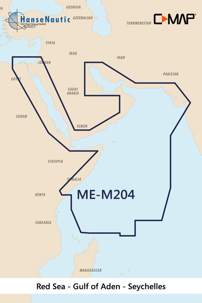 C-MAP MAX Wide ME-M204 Red Sea-The Gulf-Seychelles Isl.