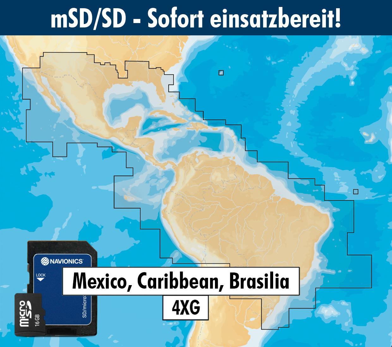 Navionics+ preloaded 4XG mSD Mexico, Caribbean to Brazil