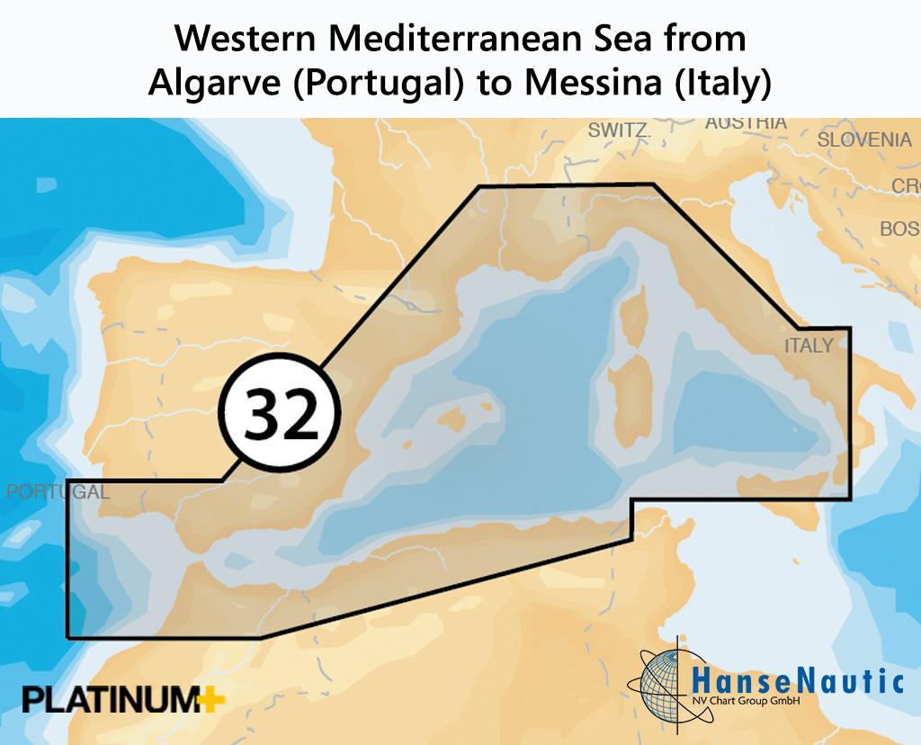 Navionics Platinum+ Mittelmeer (West) von Süd-Portugal bis Sizilien - 32P+