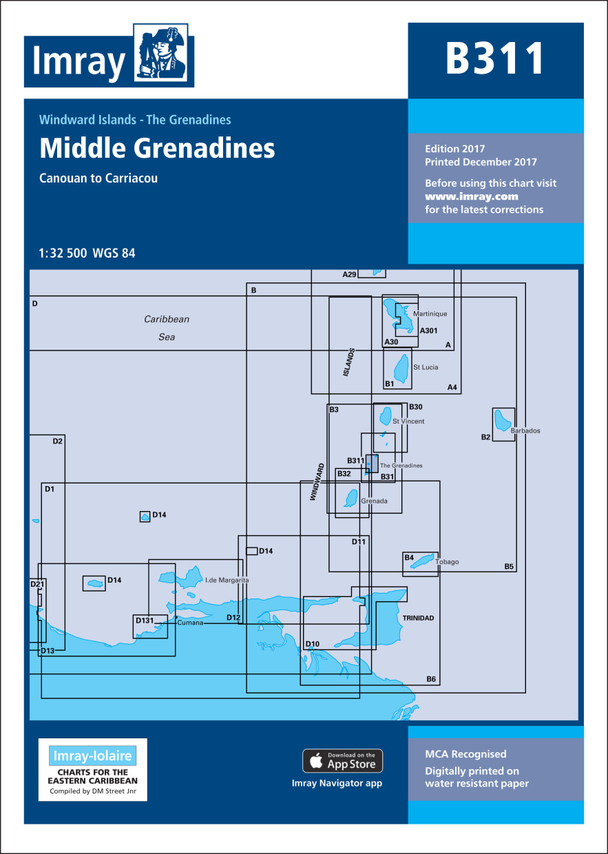 IMRAY CHART B311 Middle Grenadines Canouan to Carriacou