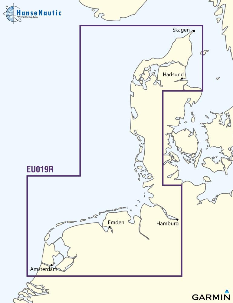 BlueChart Nordsee Waddenzee, Deutsche Bucht, Skagen (Alborg - Amsterdam) g3 XEU019R