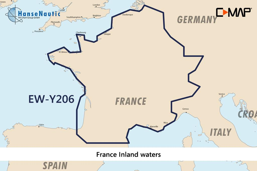 C-MAP Discover Frankreich Binnengewässer, französische Kanäle u. Flüsse EW-Y206