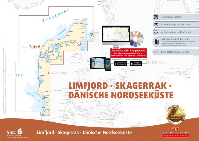 Sportbootkarten Satz 6: Limfjord - Skagerrak - Dänische Nordseeküste, Delius Klasing