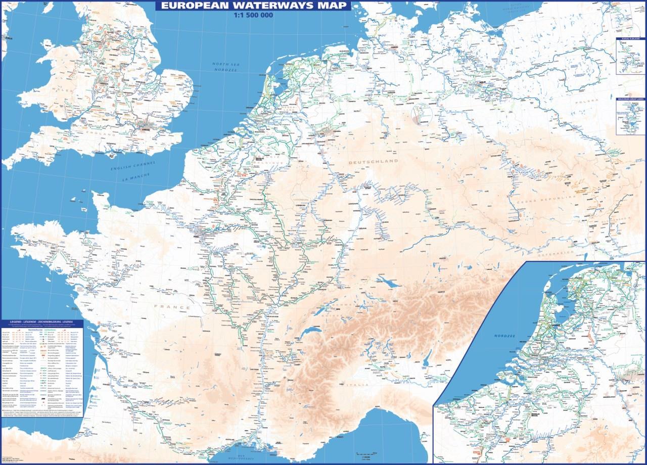 Karte der Wasserstrassen Europa