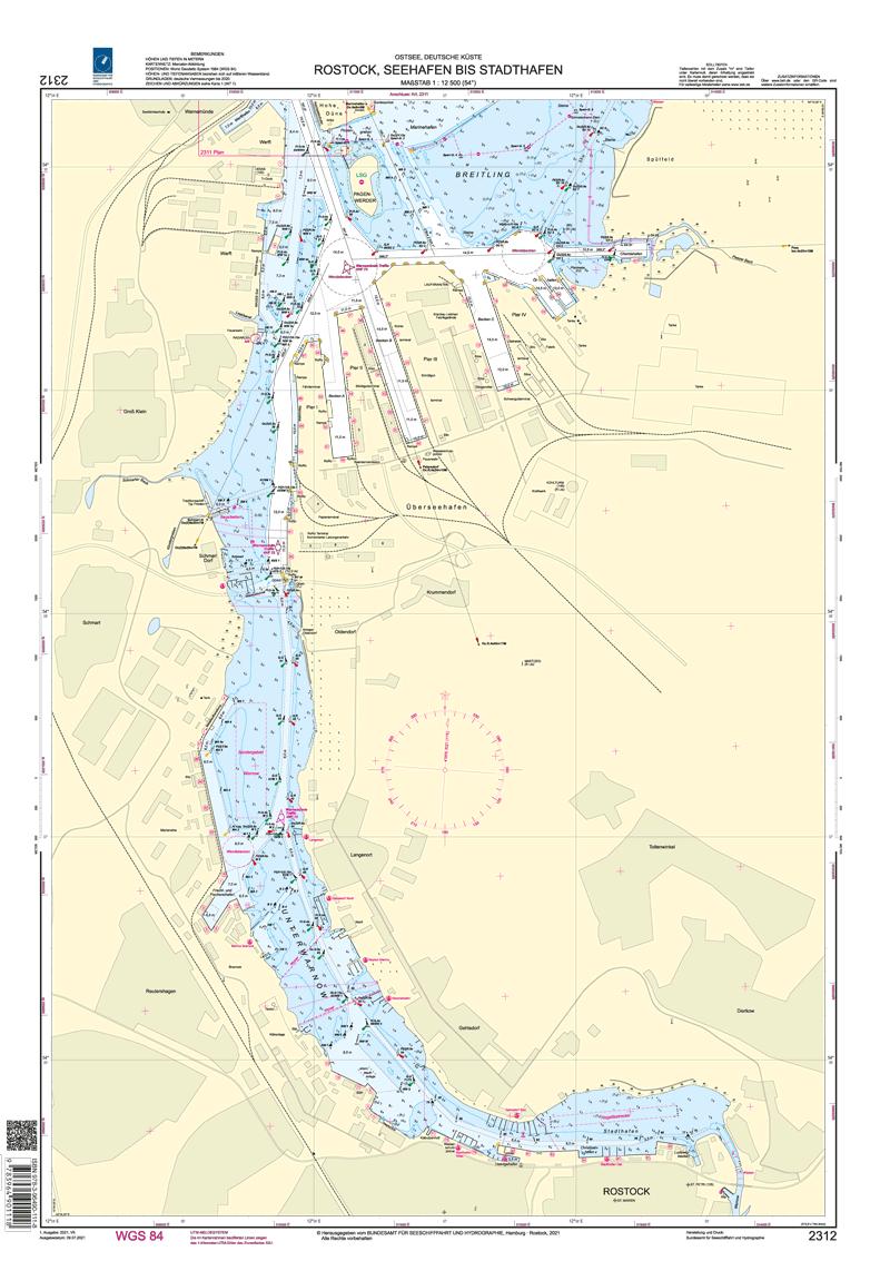 BSH 2312 Rostock, Seehafen bis Stadthafen