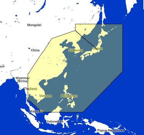 MapMedia C-Map Wide Vector Chart:MWVJASM001MAP -Vietnam, China, Taiwan, Phil, KR, Japan