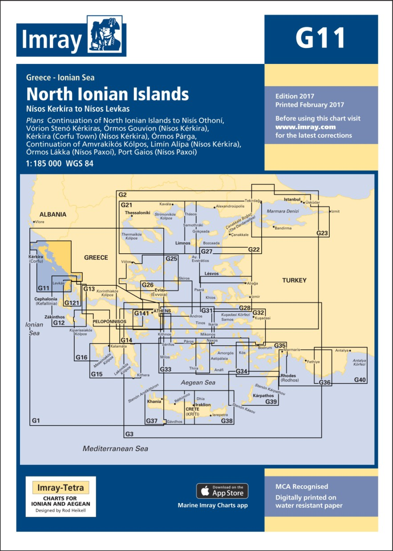 IMRAY CHART G11 North Ionian Islands Nisos Kerkira to Nisos Levkas
