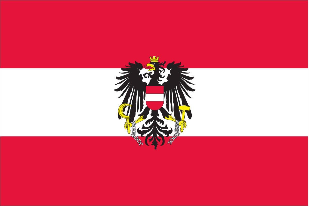 Flagge Österreich mit Wappen