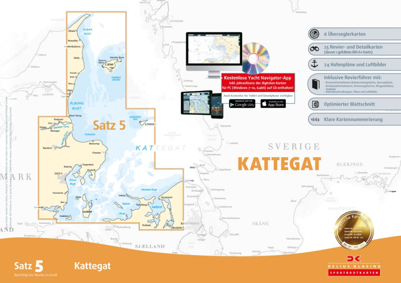 Sportbootkarten Satz 5: Kattegat, Delius Klasing