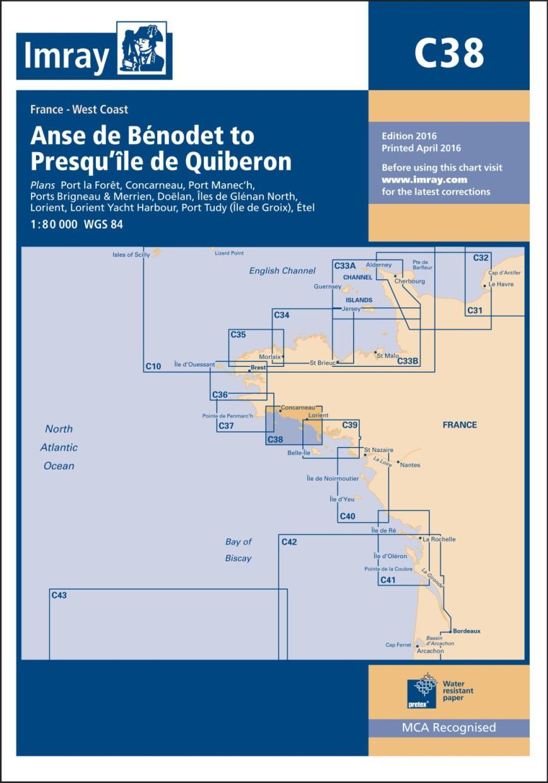 IMRAY CHART C38 Anse de Bénodet to Presqu'île de Quiberon