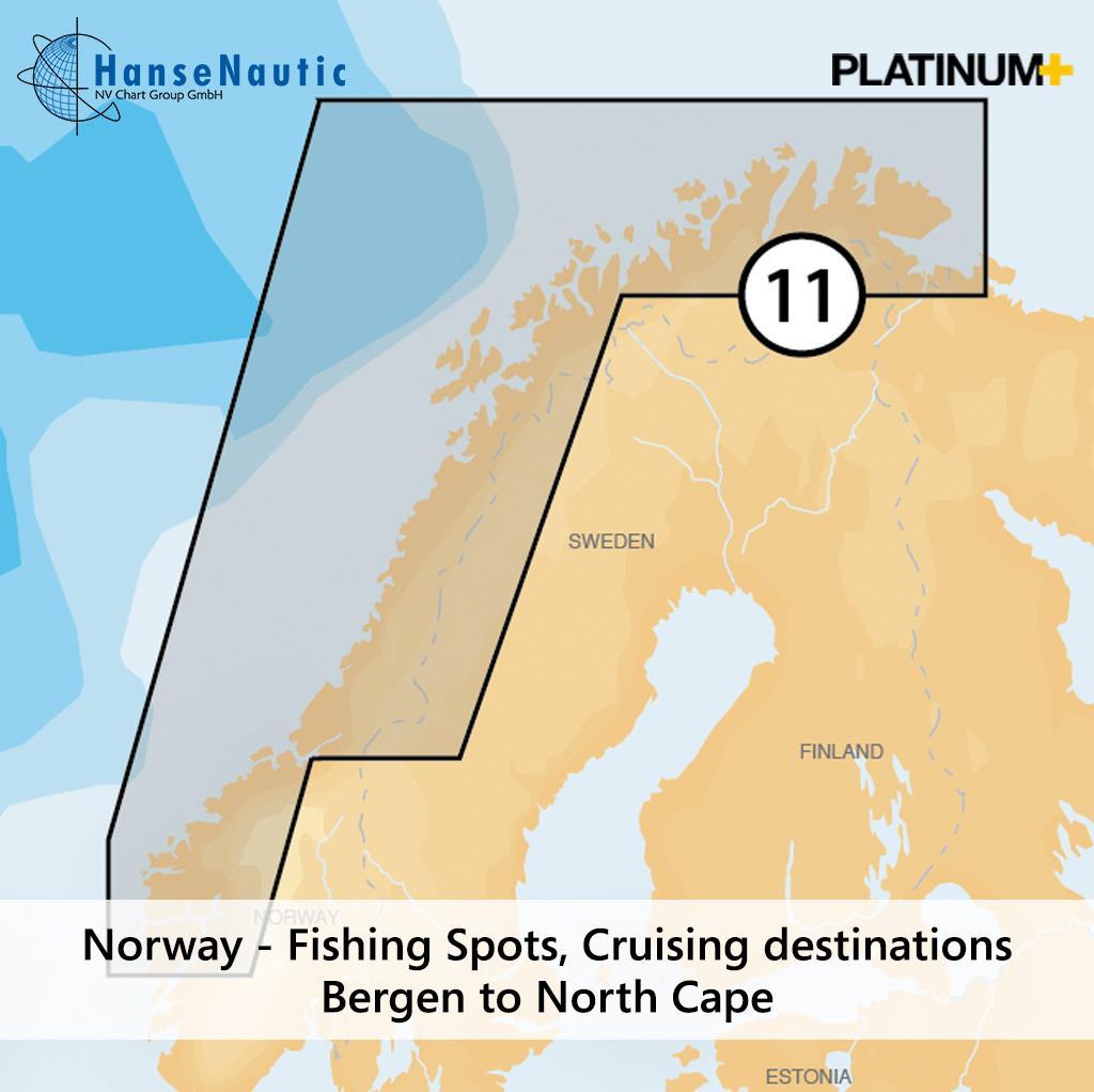 Navionics Platinum+ Norwegen, Fjorde u. Küste von Bergen bis Nordkap 11P+