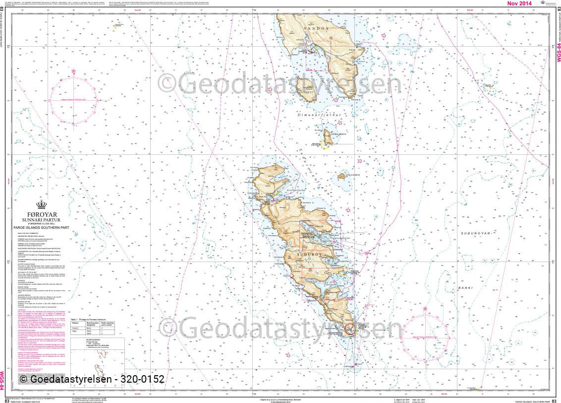 DK 83 Küstenkarte Färöer Inseln Südteil