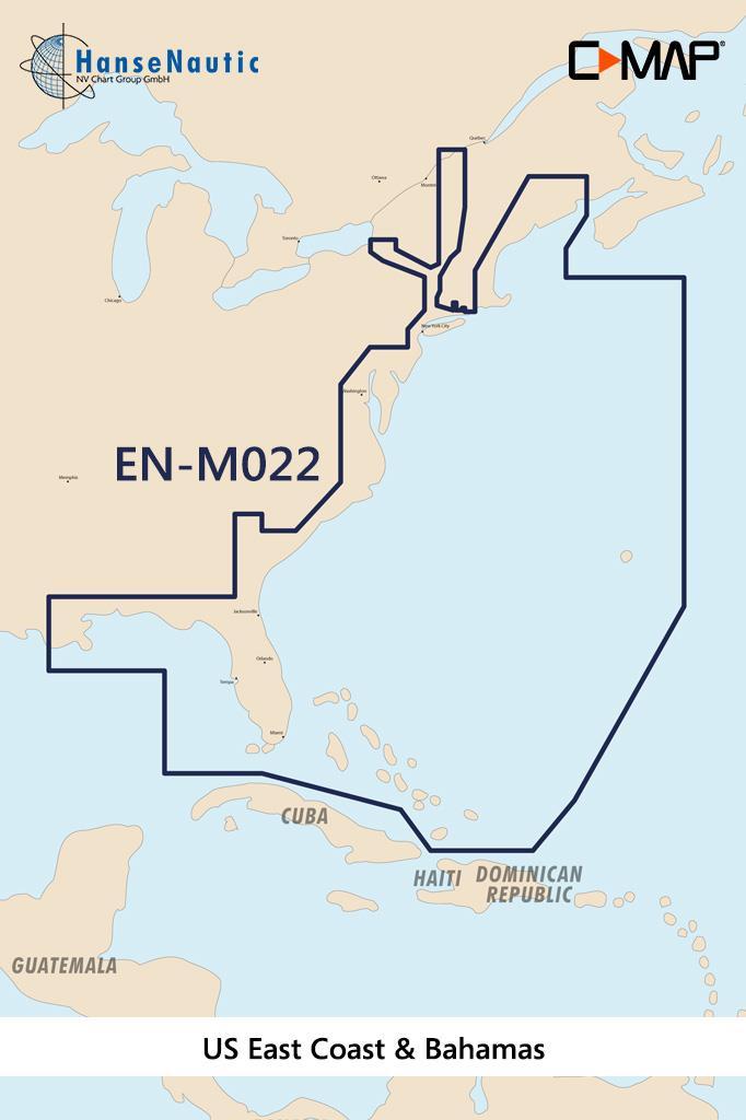 C-MAP MAX Wide NA-M022 USA East Coast & Bahamas