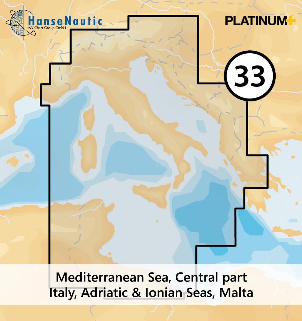 Navionics Platinum+ Mittelmeer (zentral), Italien, Adria, Ionisches Meer, Tunesien - 33P+