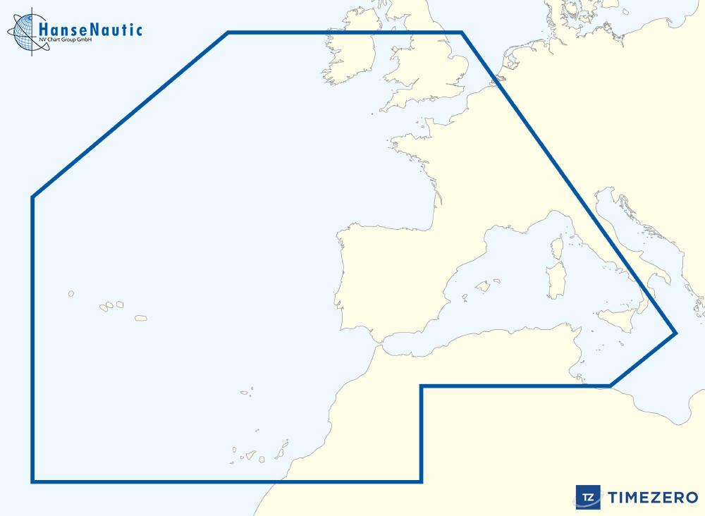 Timezerokarte  Westeuropäische Küsten und  westliches Mittelmeer