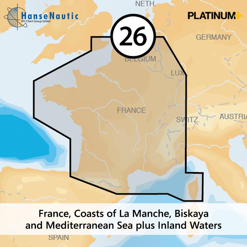 Navionics Platinum+ Frankreich - Küsten v. Kanal, Biskaya, Mittelmeer, Korsika & alle Binnengewässer - 26P+