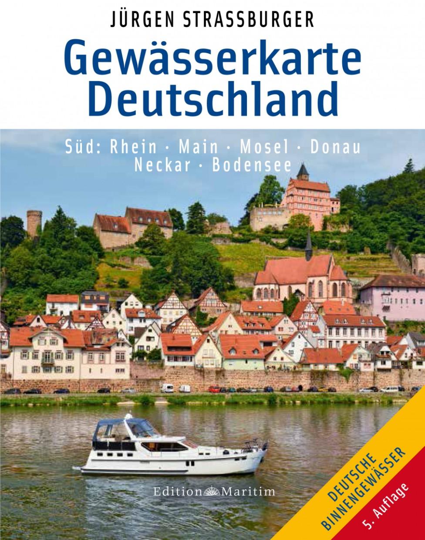 Gewässerkarte Deutschland Süd - Rhein, Main, Mosel, Donau, Neckar, Bodensee