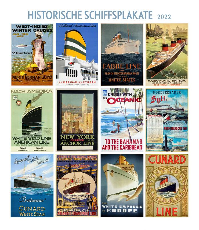 Historische Schiffsplakate 2022 (Kalender)