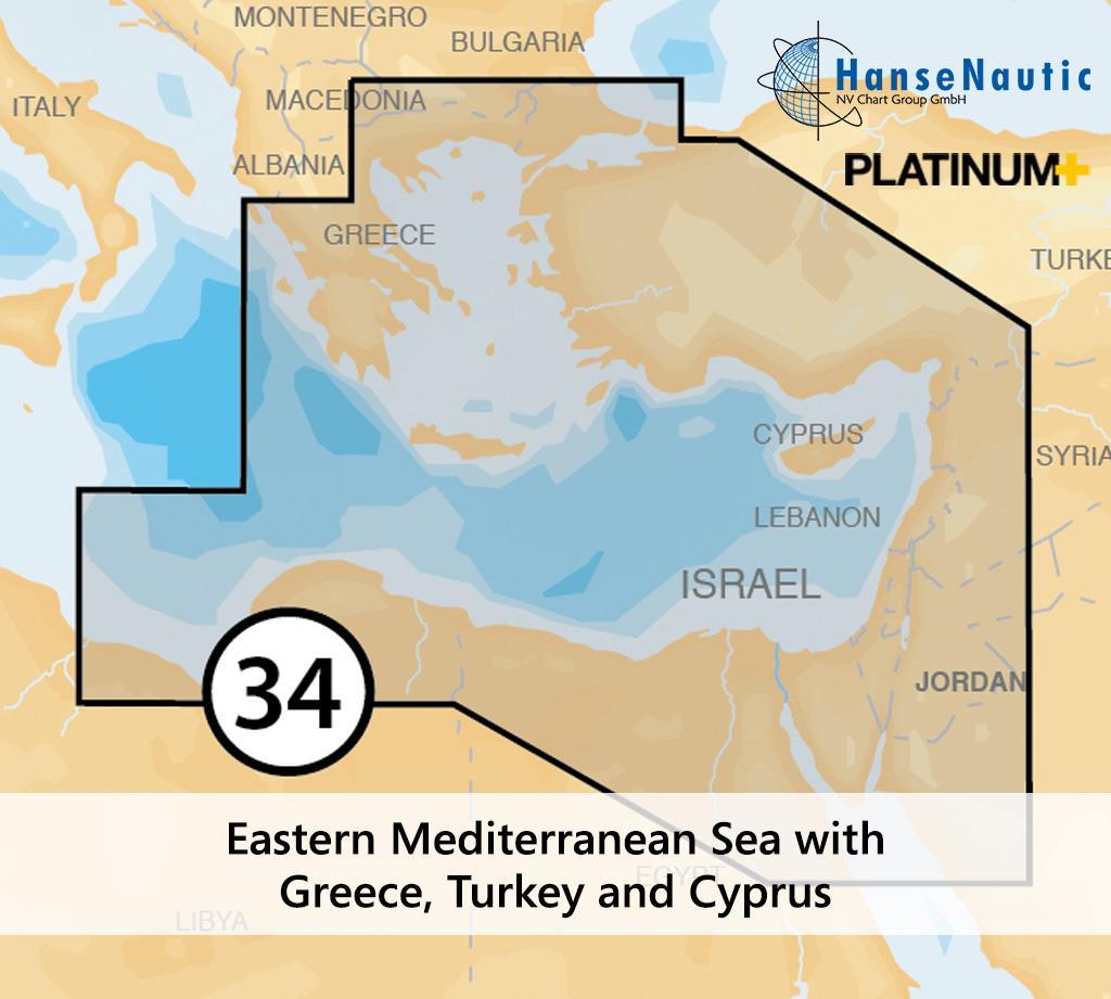 Navionics Platinum+ Mittelmeer (Ost) mit Griechenland (Ägäis), Türkei, Zypern - 34P+