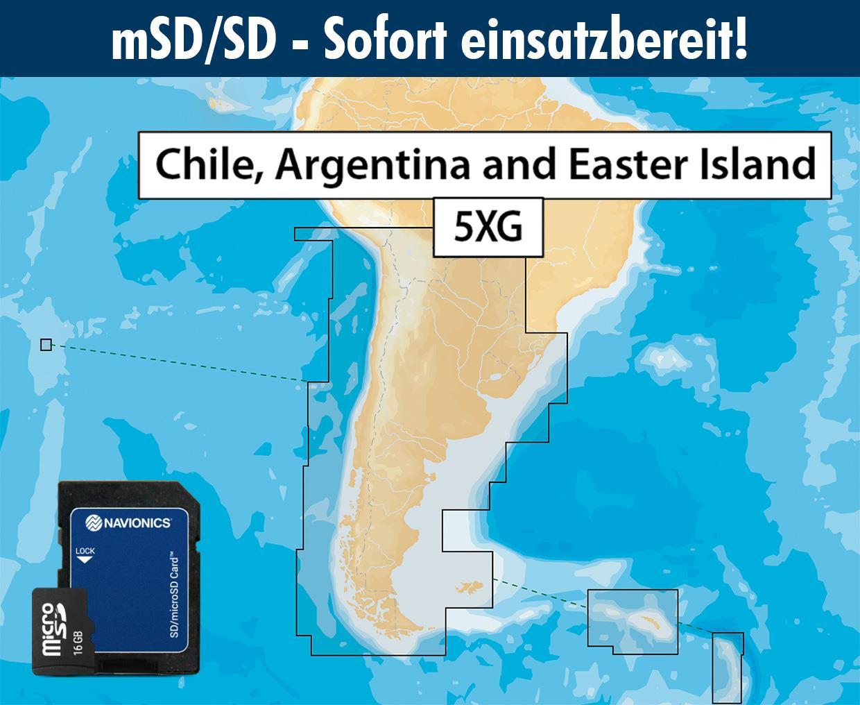 Navionics+ preloaded 5XG mSD Chile, Argentinien und Osterinseln