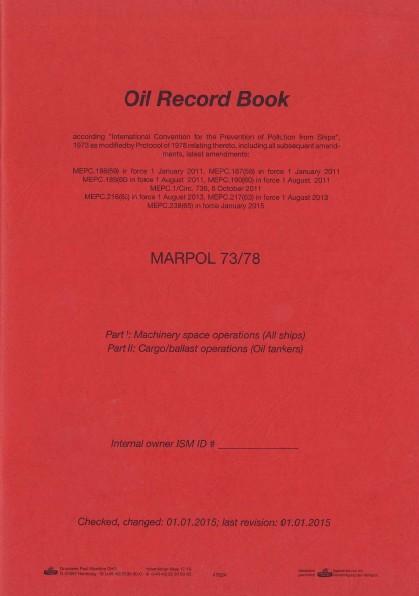 Oil Record Book MARPOL engl.