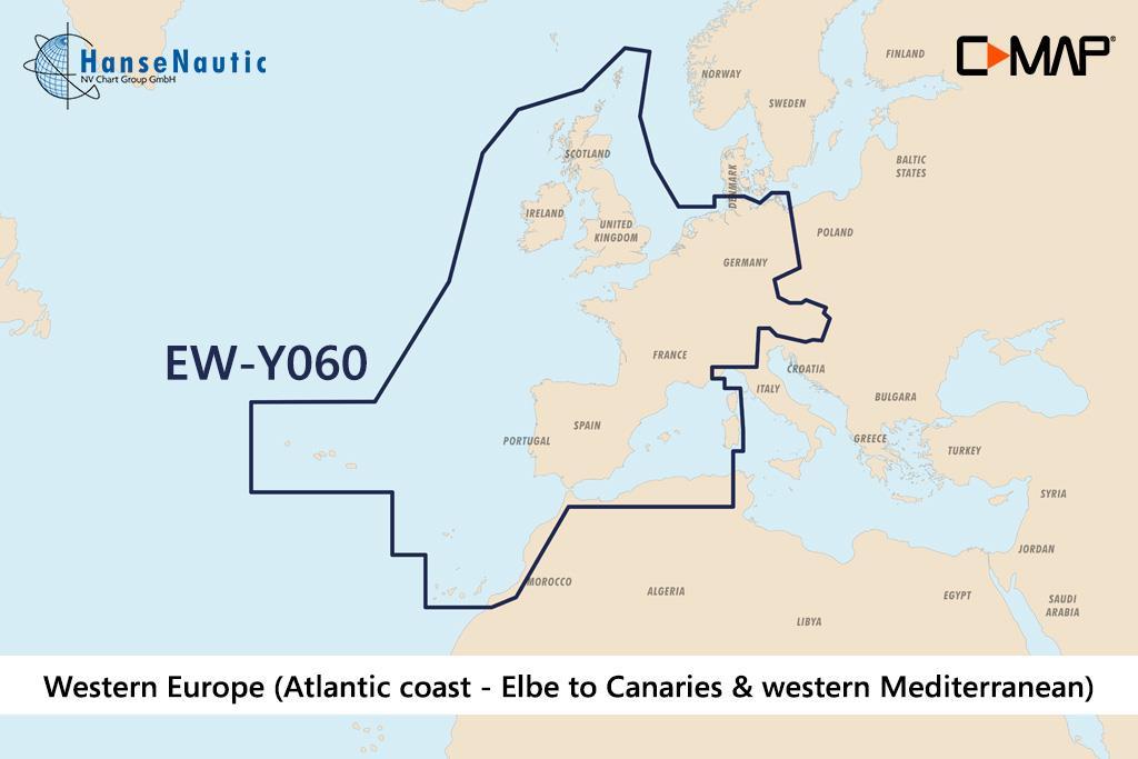 C-MAP Discover Westeuropa (Atlantikküste v. Elbe bis Kanaren u. westl. Mittelmeer) EW-Y060
