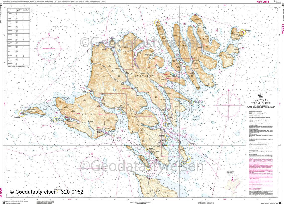 DK 82 Küstenkarte Färöer Inseln Nordteil