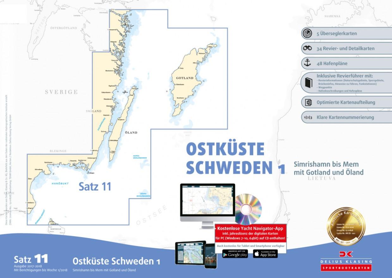 Sportbootkarten Satz 11: Ostküste Schweden 1, Delius Klasing