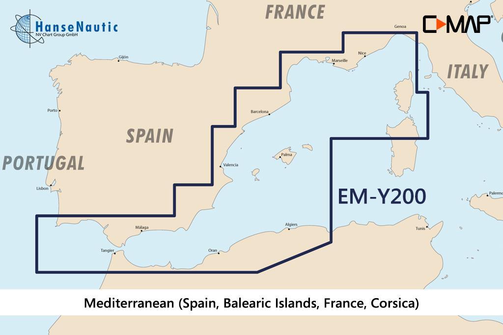 C-MAP Discover Mittelmeer West (Spanien, Balearen, Frankreich, Korsika) EM-Y200