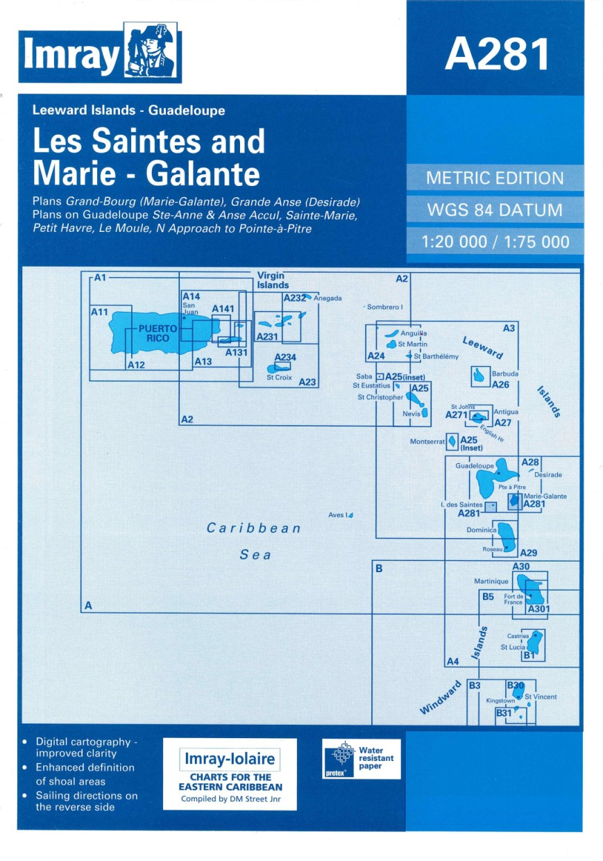 IMRAY CHART A281 Anchorages in Guadeloupe, Les Saintes and Marie-Galante