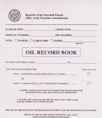 Oil Record Book Marshall Island incl. MI Instructions Rev. 4/11 and Rev. 10/11.