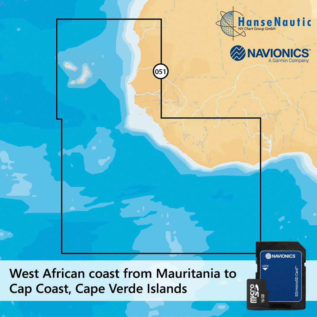 Navionics+ small Kap Verden u. Westafrika (Nouadhibou-Abidjan) 6G051S