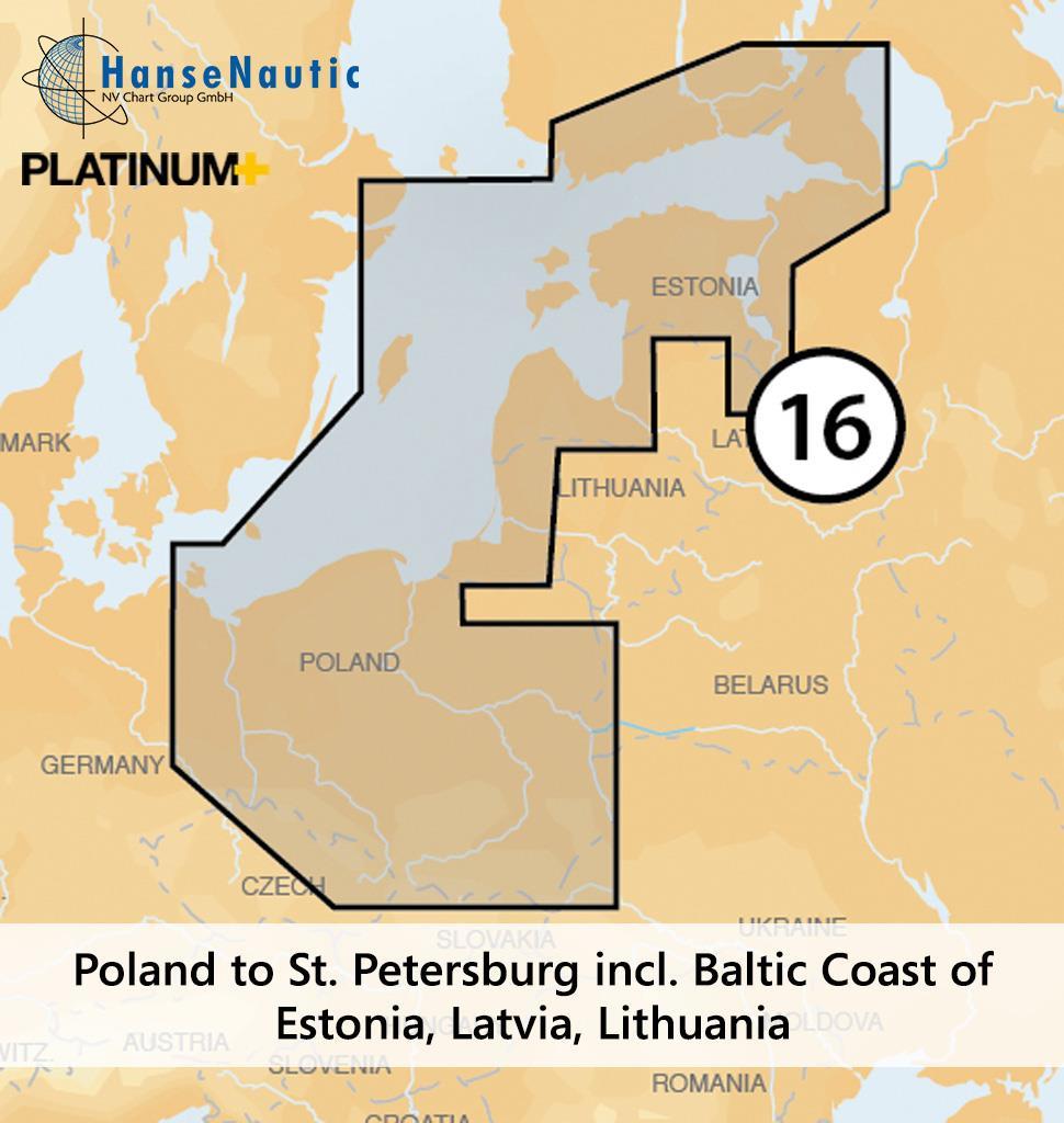 Navionics Platinum+ Östliche Ostsee von Rügen via Polen und Baltikum bis St. Petersburg (16P+)