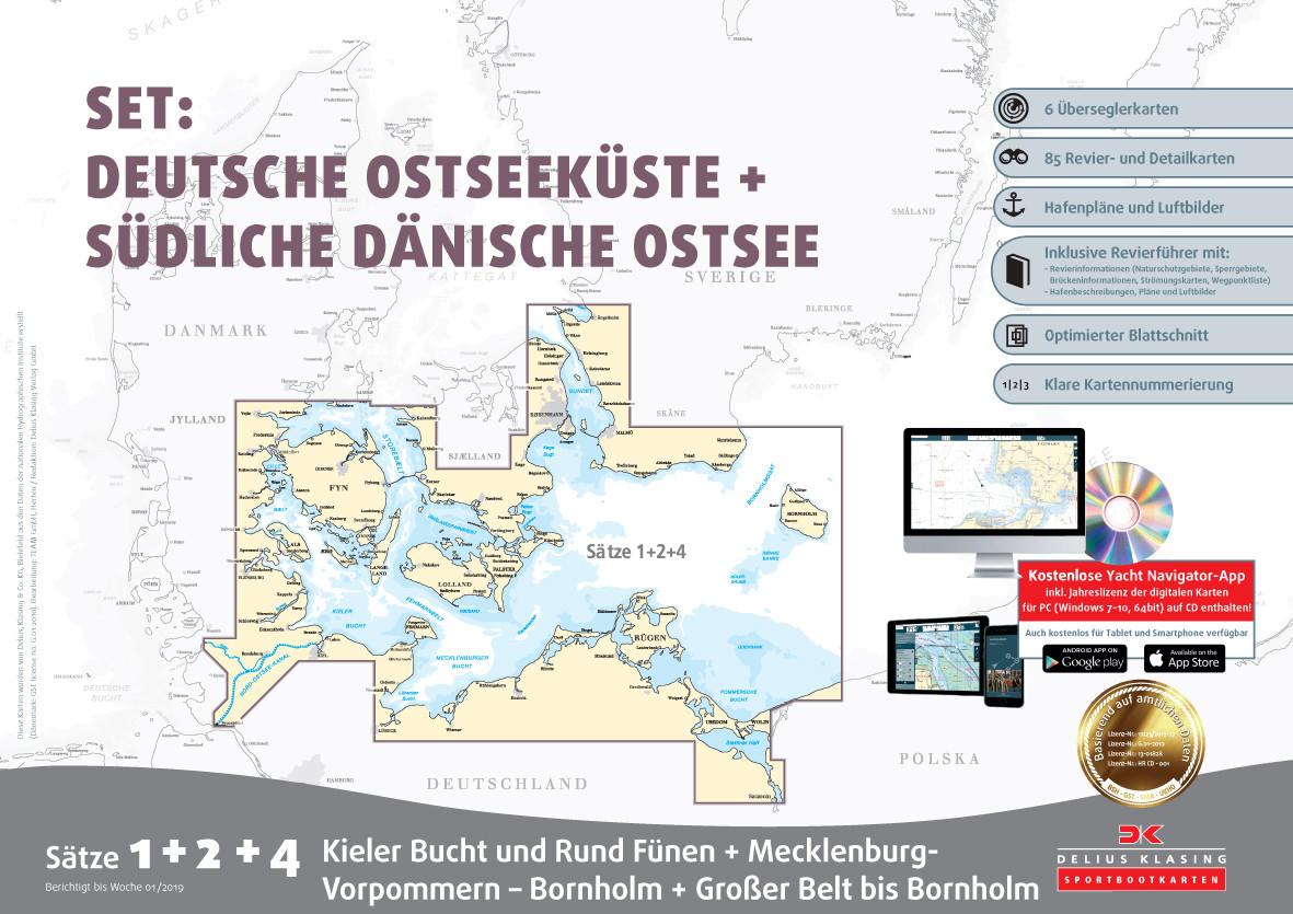 Sportbootkarten Satz 1, 2 und 4 Set: Deutsche Ostsee und Südliche Dänische Ostsee, Delius Klasing