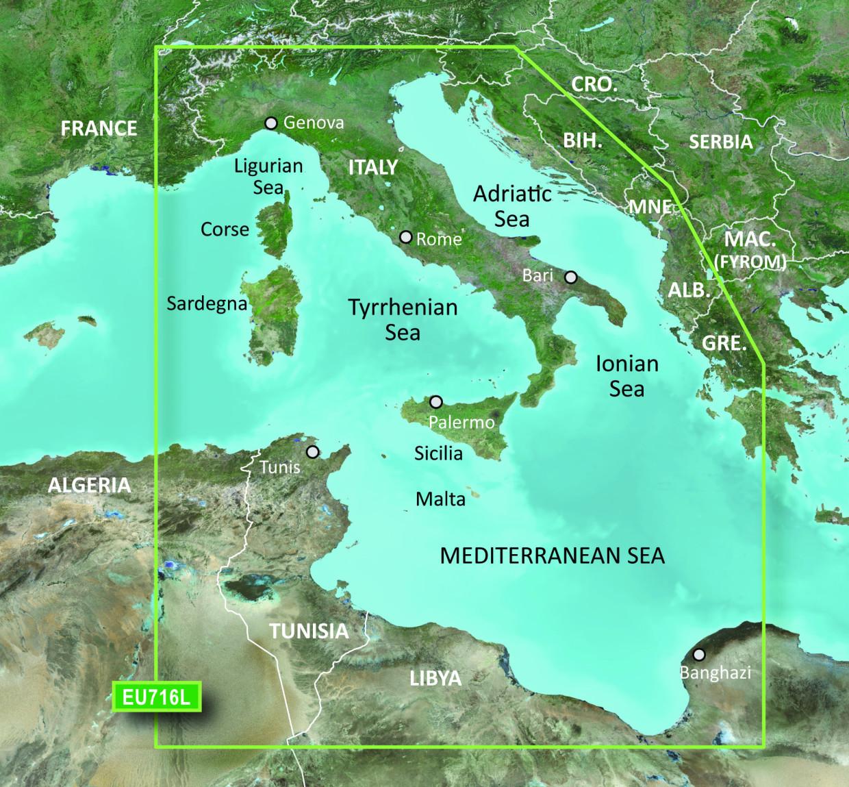 BlueChart g2 Vision Chip Large VEU716L-Mediterranean, Central