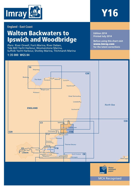 IMRAY CHART Y 16 Walton Backwaters to Ipswich and Woodbridge