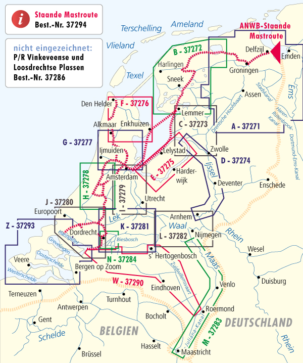 ANWB - gute Übersicht über die verfügbaren Binnenkarten für die Niederlande