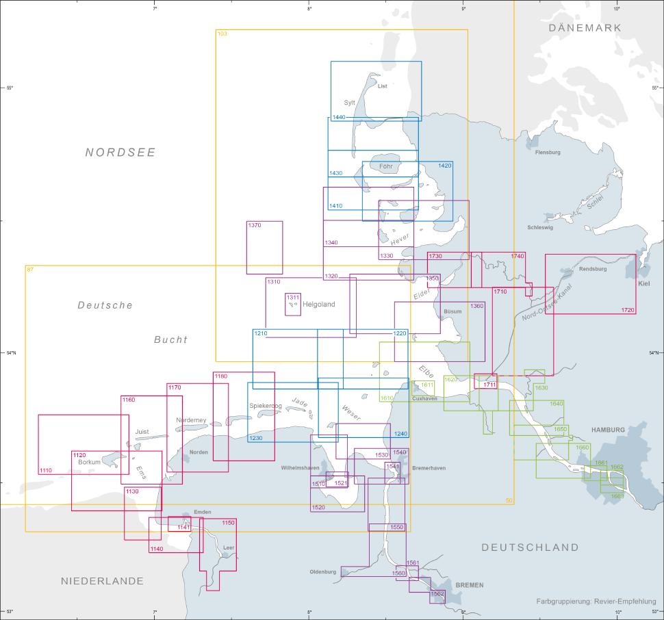 Übersichtskarte der A1 Karten für die Nordsee vom BSH