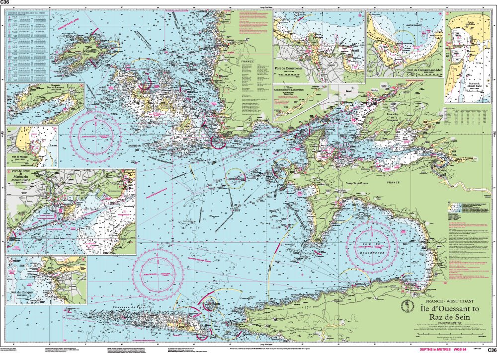 Map Of West Coast Of France.Hansenautic De Imray Chart C 36 Nautical Online Shop