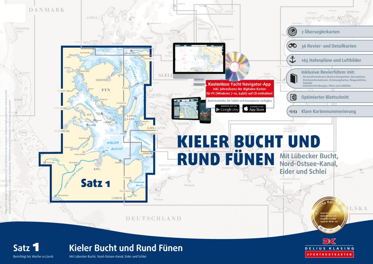 Sportbootkartensatz 1, Kieler Bucht und Rund Fünen von Delius Klasing