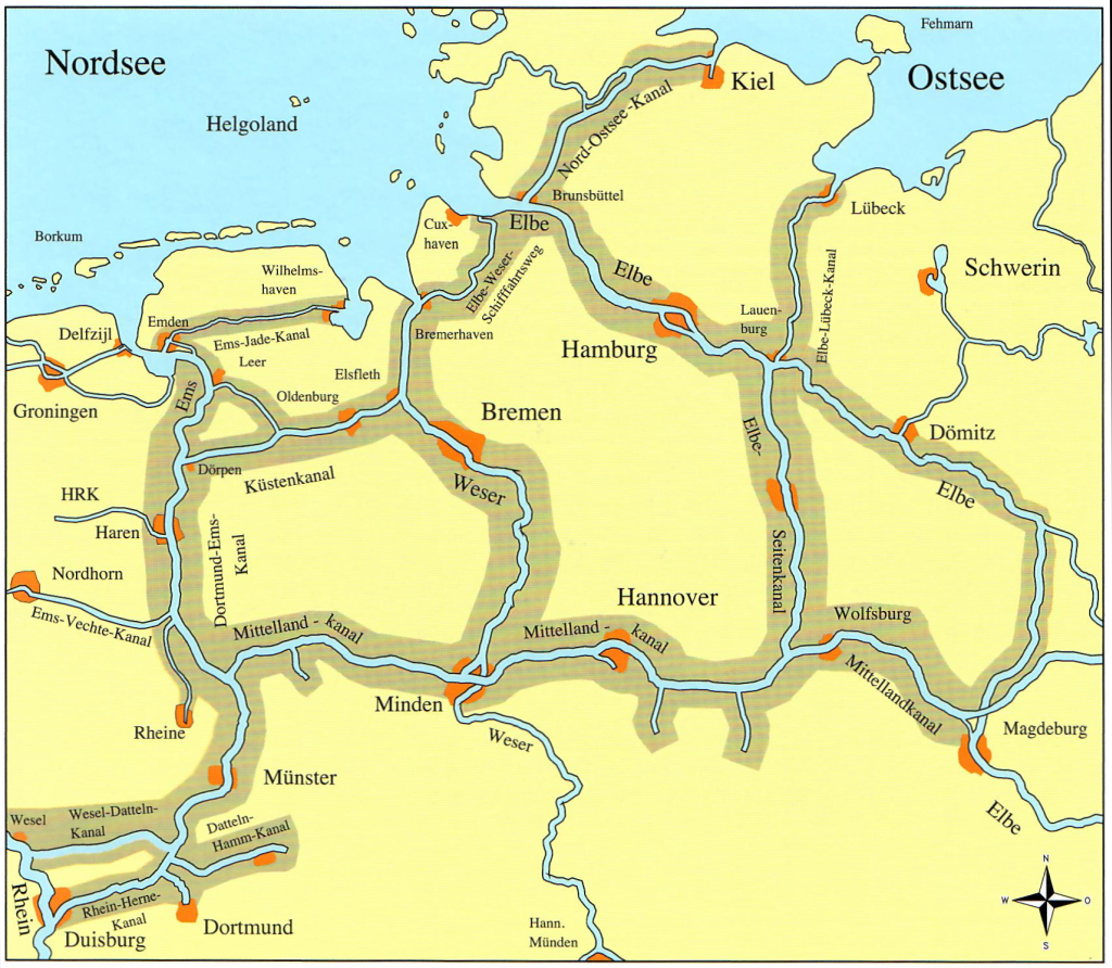 Abdeckung vom Rhein zur Nord- und Ostsee