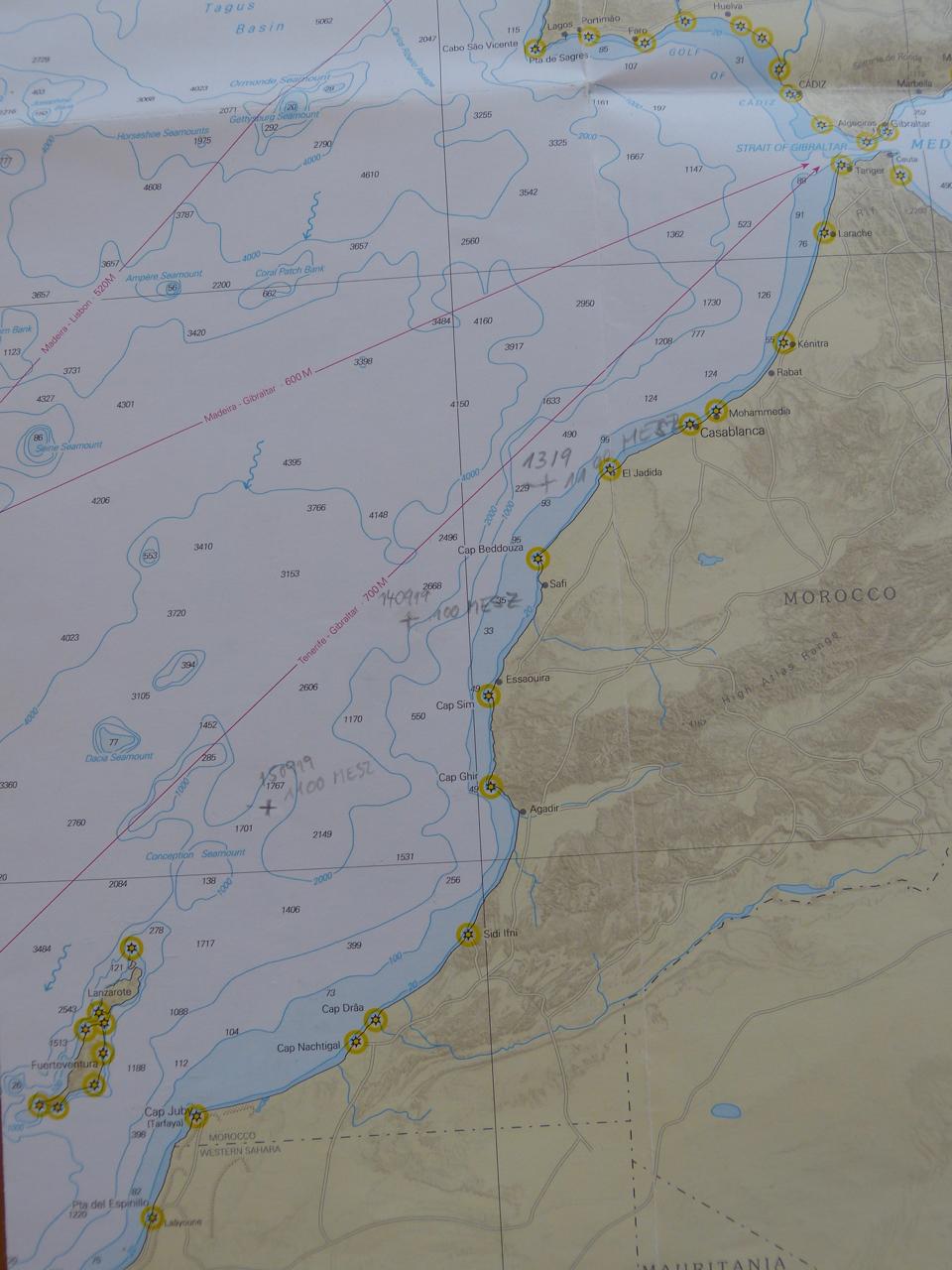 Täglicher Positionseintrag auf der Seekarte